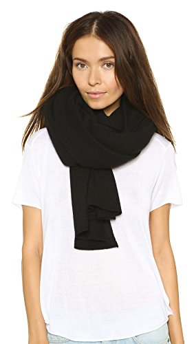 White + Warren Women's Cashmere Travel Wrap Scarf, Black, One Size by White + Warren