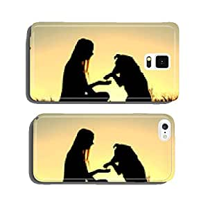 Woman and Her Dog Shaking Hands Silhouette cell phone cover case iPhone6