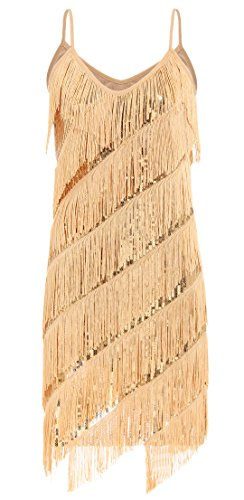 [JustinCostume Women's Shiny Sequined Tassel Camisole Dress Latin Dance Costume, Small, Gold] (Gold Flapper Dress)