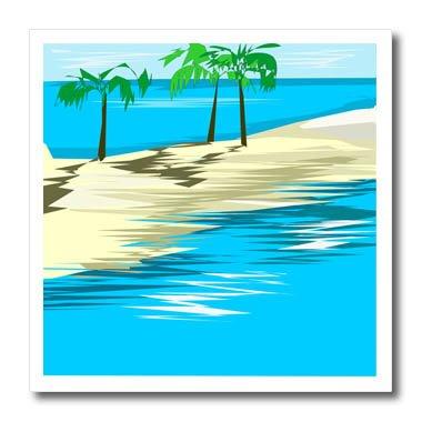 (3dRose TDSwhite – Summer Beach Theme - Sandbar Palm Trees - 10x10 Iron on Heat Transfer for White Material (ht_285725_3))