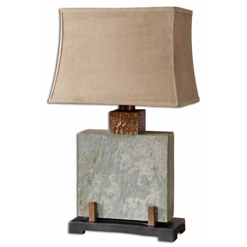 Uttermost 26321-1 Slate Square Table Lamp, The Base Is Made Of Real Hand Carved Slate, 12