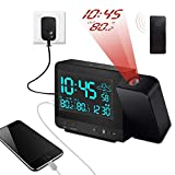 Dr. Prepare Projection Alarm Clock on Ceiling Wall with Indoor/Outdoor Thermometer Hygrometer, Weather Station, Dual Alarm, Colorful Backlight, and USB Charging for Bedroom