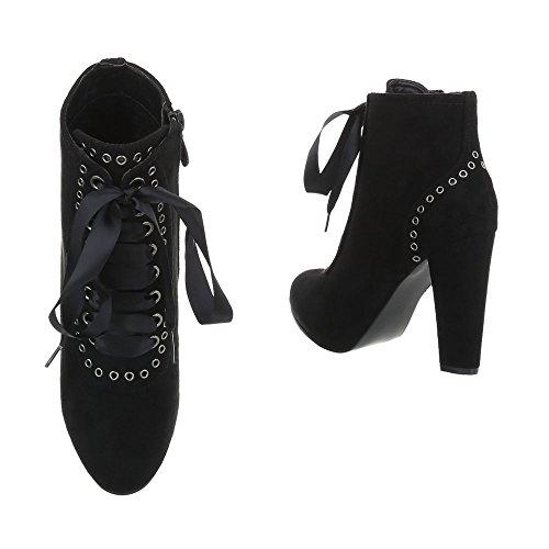 Zapatos para mujer Botas Mini tac—n Botines de tac—n Ital-Design Negro 288-1