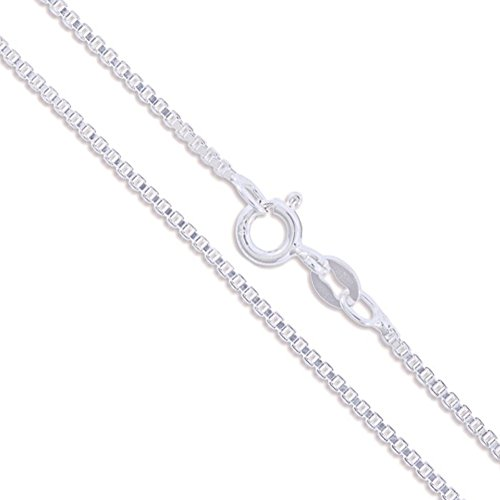 "Sterling Silver Box Chain 1.4mm Genuine Solid 925 Italy Classic New Necklace 22"" (2242-22)"