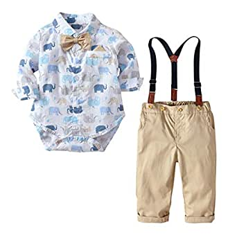 Fairy Baby Toddler Boys 2Pcs Gentleman Outfit Clothes Elephant Bodysuit+Suspender Pant Set Size 6-12 Months (Elephant)
