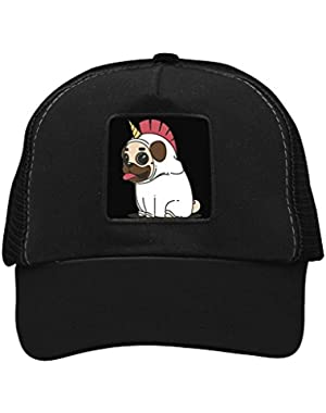 Unisex Pugicorn Warrior Trucker Hat Adjustable Mesh Cap