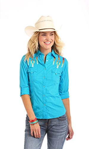 Panhandle Aztec Embroidered Snap Shirt, - Slim Panhandle Shirt Western Plaid