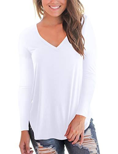Women's Long Sleeve V Neck High Low Hem T Shirt Top Plus Size White XL