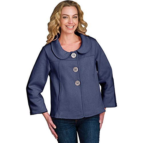 Neon Buddha Women's Loose Fit Jacket Female Cotton Cardigan with Peter Pan Collar, Exposed Seams and Buttons Blue
