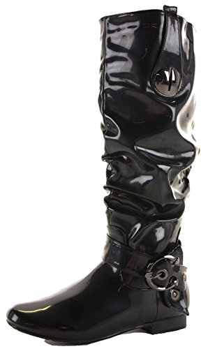 Ladies Flat Low Leg Size ShoeFashionista High Boots Calf Black Knee Style Heel Style Winter Wide Biker H dUrqcvq5