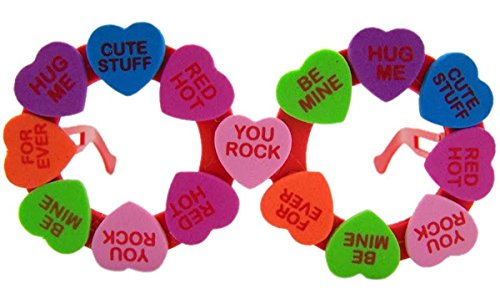 Valentine's Day Novelty Eye Glasses With Multi Colored Foam Conversation hearts, One - Glasses Eyes With Novelty