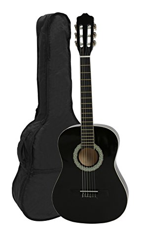 NAVARRA NV16 Classical Guitar 1/2 black with cream-colored binding incl. Gig Bag with rucksack-straps and music sheet/accessories pocket, 2 Picks - Navarro Classical Guitars