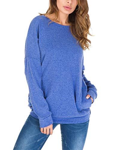 - Womens Plus Size Long Sleeve Round Neck Twist Knot T Shirt Tops Comfortable Tunic Blouse F93-11217 RoyalBlue M