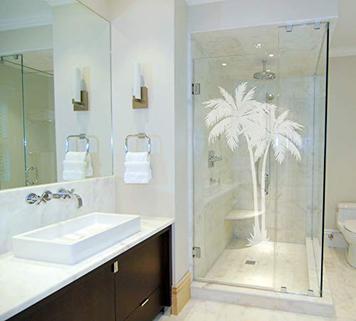 Large 2 Palms - Coastal Design Series - Etched Decal - For Shower Doors, Glass Doors and Windows - 43