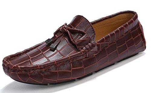 Tda Mens Nya Stil Mode Knut Läder Driv Loafers Båt Skor Vinröd