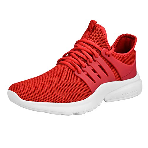 ZOCAVIA Women's Red/White Light Weight Sport Knit Workout Walking Sneakers Size 9.5 M US