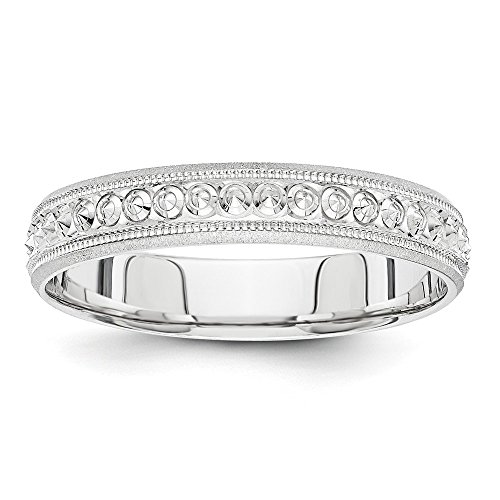 Jewelry Stores Network Solid 14k White Gold 3 mm Etched Circle Design Milgrain Wedding Band Ring