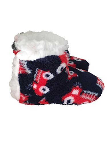 Skidders Infant and Toddler Plush Sherpa Lined Booties With Gripper Bottoms (6-12 Mos, Boys Firetruck)