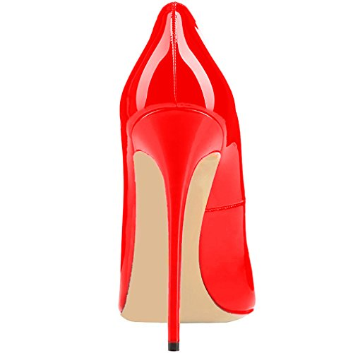 Come US Heels FSJ Shoes Pumps Toe Red Women Hither Pointed 15 Party High Stilettos Size 4 Bqnx5Tq86