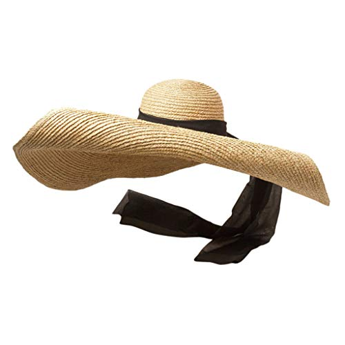 Womens Sun Straw Hat Oversized Wide Brim Summer Hat Foldable Roll up Floppy Beach Hats Cap Packable for Travel Black -