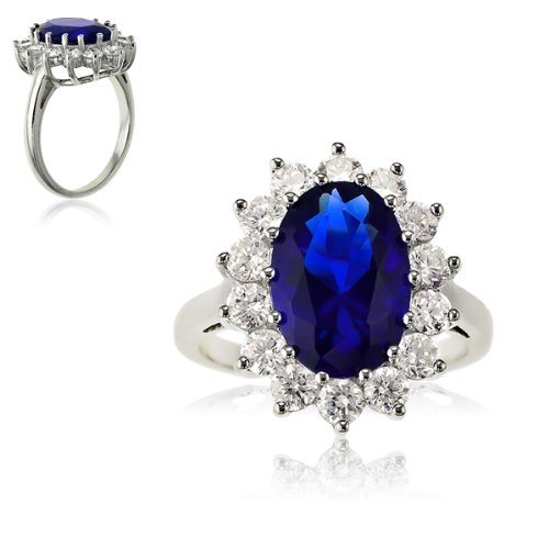 Sterling Silver Large Oval Created Blue Sapphire and Clear Cubic Zirconia Statement Bridal Engagement Princess Diana/Kate Middleton Royal ()