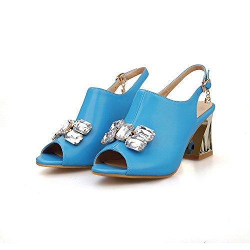 AllhqFashion Mujeres con Diamante de Imitación Hebilla Tacón ancho Sólido Sandalia Azul
