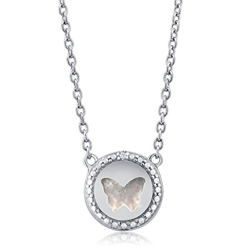 Pendant Mop Butterfly - Gem Stone King Sterling Silver Diamond Simulated Mother of Pearl MOP Butterfly Pendant Necklace