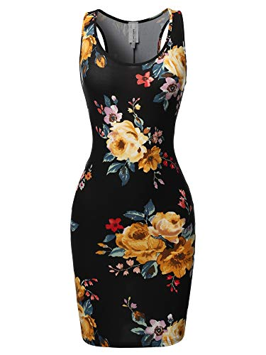 Floral or Camouflage Printed Body-Con Racer-Back Mini Dress Black Mauve XL ()