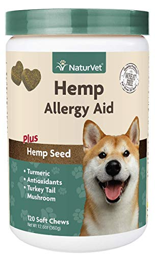 Picture of NaturVet Hemp Allergy Aid Supplement for Dogs, Hemp Seed, Antioxidants, Omegas, Dha & Epa for Healthy Skin & Respiratory Health, 120 Count