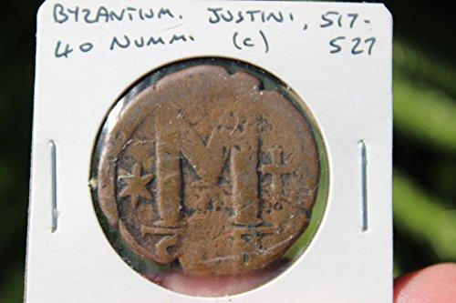 Byzantine bronze coin 40 numm, Justin 517-527 AD, Byzantium