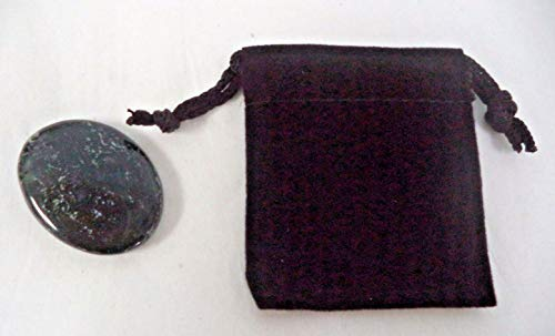 String Bead Agate Moss - 1 Pc of Moss Agate Pocket Palm Stone & Drawstring Pouch (Smooth Polished Worry Stone)