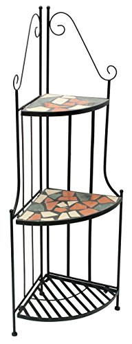 Rayes Imports D64082 Metal Mosaic three Tier Corner Shelves by Rayes Imports