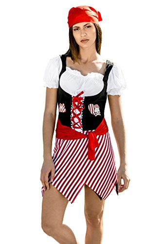 [Adult Women Pirate Costume Freebooter Sea Rover Girl Role Play Buccaneer Dress Up (Small/Medium, Black, Red, White)] (Robber Halloween Costume Ideas)
