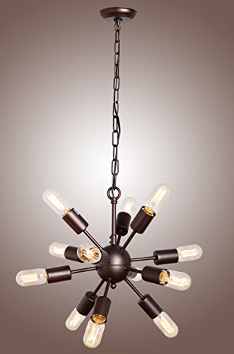 Deluxe Lamp Mid Century Sputnik Filament Chandelier Aged Steel 12 Arms (Light Steel Twelve Chandelier)