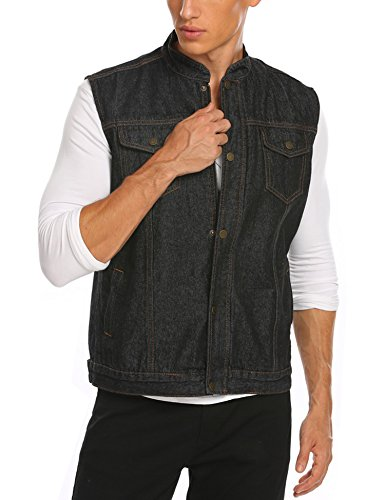 Denim Vest Costume (Jinidu Men's Casual Sleeveless Hidden Zipper Lapel Denim Vest Jacket)