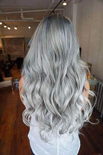 20 Inches One Piece Wavy Curly Half Head Clip in Hair Extensions Solid Color DL (Silver grey)