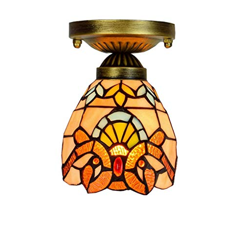 Tiffany Style Ceiling Light, 6 inch European Creative Stained Glass Ceiling lamp, Baroque Ceiling spotlights for Bedroom Hallway, E27, Max40W