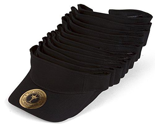 TOP HEADWEAR Blank Adjustable Visors - 12-Pack - Black -