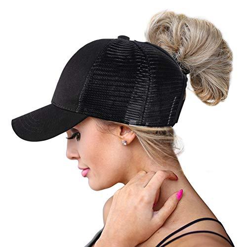 High Ponytail Hole Baseball Hats Cap for Women,Messy Bun Ponycaps Adjustable Cotton and Mesh Trucker Baseball Sun Cap Black (Classic(Mesh)-Black)