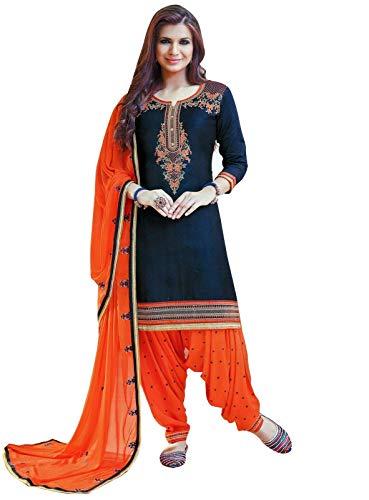 ladyline Ready to Wear Cotton Embroidered Patiala Salwar Kameez Women's Dress (Size_44/ Navy Blue)