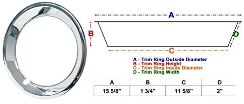 14'' Chrome Plated Stainless Steel Trim Rings with Stepped Edge fits 6'' & 7'' Wide Factory and Aftermarket Wheels (Camaro Style, Set of 4) by Eagle Flight