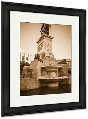 Ashley Framed Prints Oldest Street In The Capital Of Spain The City Of Madrid Its Architecture And, Wall Art Home Decoration, Sepia, 30x26 (frame size), Black Frame, AG5528143 by Ashley Framed Prints