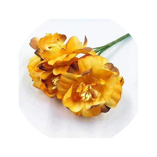 Blue-shore 6pieces 5cm Artificial Flowers Silk Plum Highland Flower for DIY Scrapbooking Wreath Wedding Decoration Fake Flowers,Orange