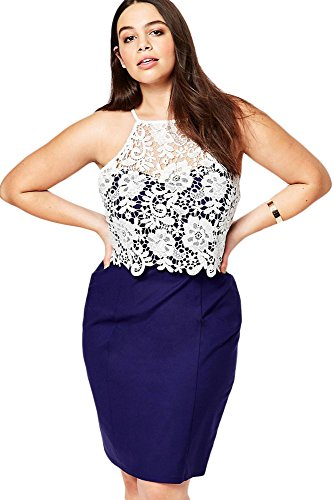 NEW Mesdames Plus Taille Crochet en bleu et blanc en dentelle Crayon Pour Soirée porter Taille XXXL UK 20–22EU 48–50