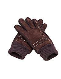 Men's Winter Gloves Warm Suede Leather Knitted Gloves Thick Brown