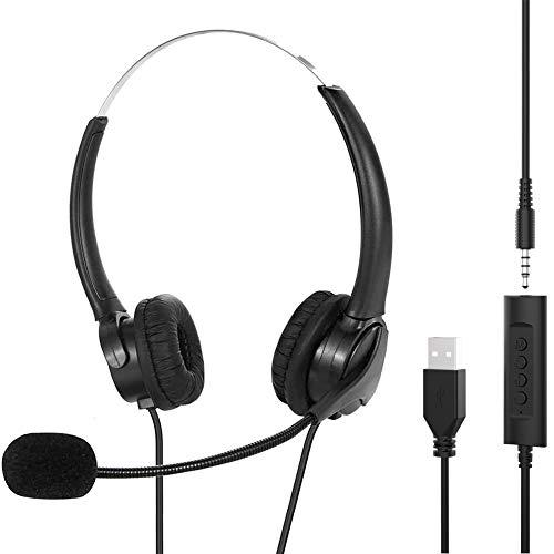 🥇 KKshop Auriculares Telefono con Micrófono USB/3.5mm