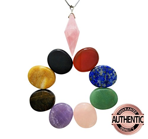 Chakra Stones Healing Crystals Oval Shaped 8 PCS, and Rose Quartz Pointed & Faceted Pendant Suspended on 18