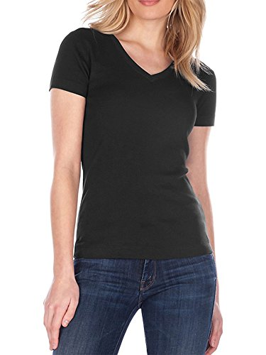 Three Dots S/S Mid V Tee (Black, S)