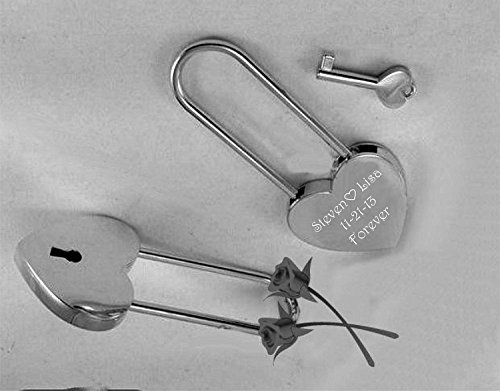 Personalized Silver Heart Love Padlock with Key Engraved Free