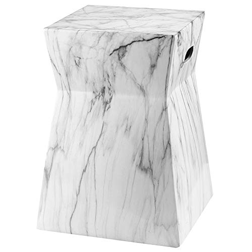 Safavieh ACS4570A Castle Collection Artesia Garden Stool, White/Black Marble by Safavieh (Image #1)